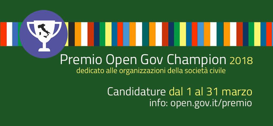 Premio Opengov Champion 2018: il contributo della società civile all'open government