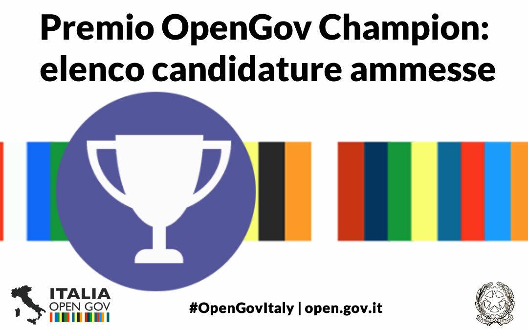 Premio OpenGov Champion 2021: amministrazioni ammesse alla prossima fase