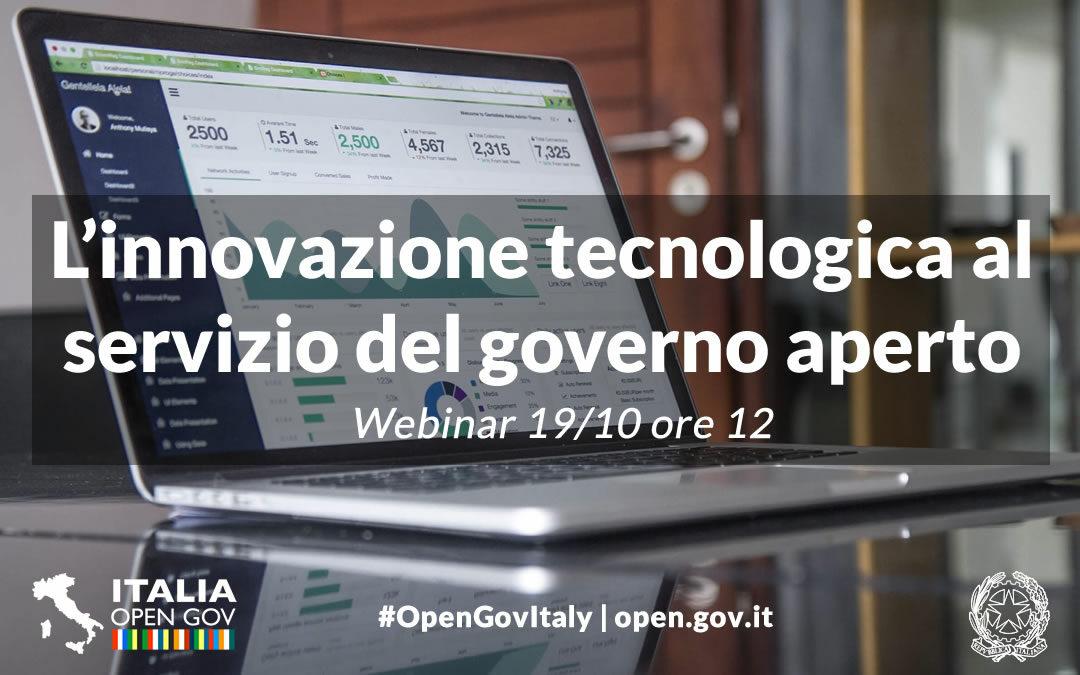 L'innovazione tecnologica al servizio del governo aperto: un webinar il 19 ottobre