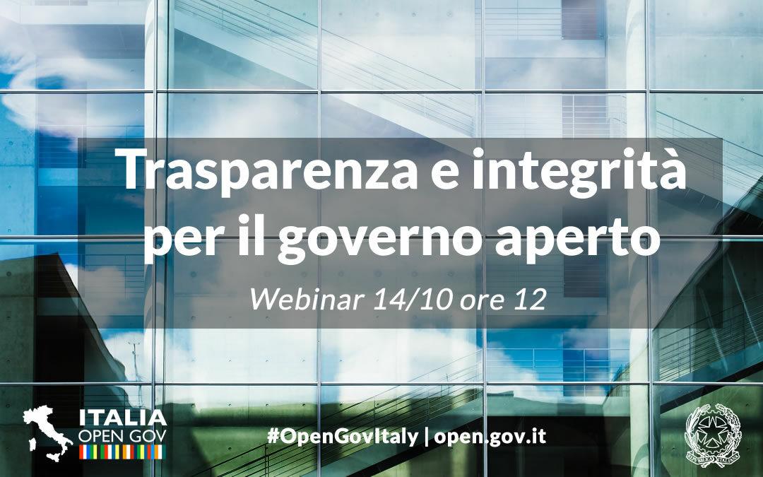 Il 14/10 webinar su anticorruzione e cultura dell'integrità per il governo aperto
